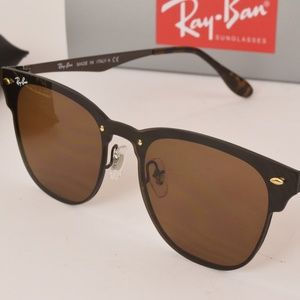 NEW Ray Ban Clubmaster Blaze Gold Sunglasses